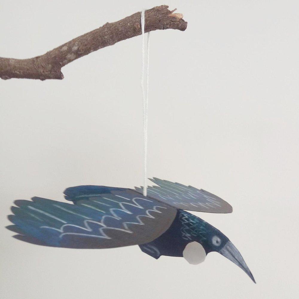 Paper cut tui - coloured pencil on paper. Paper ornament workshop example .