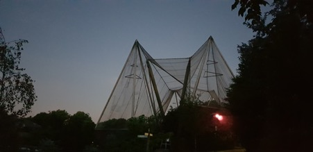 Above:  The aviary, you can just see the sun starting to rise in the background.