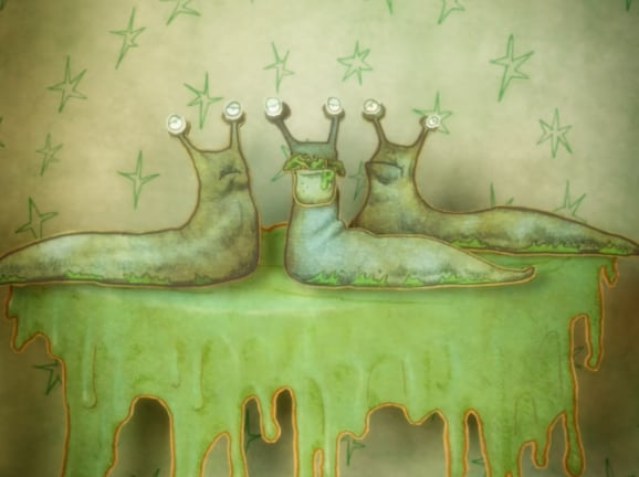 cartoon slugs on slime