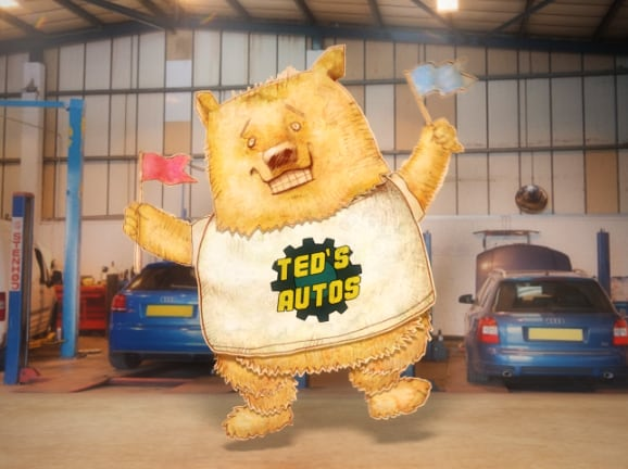 dancing bear in an auto shop