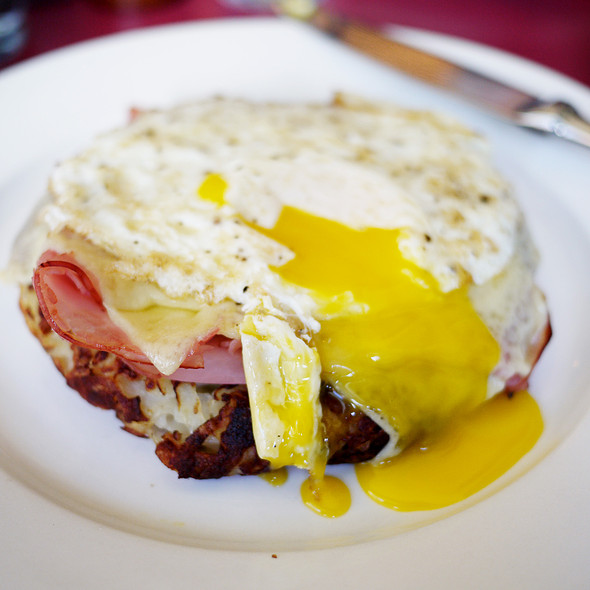 Rosti with Blackforest Ham, Gruyere and Fried Egg