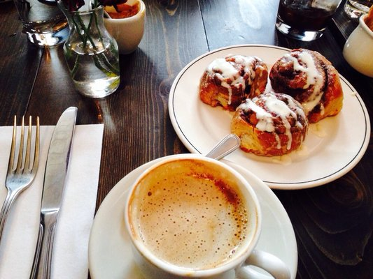 Cappuccino and cinnamon buns at the Saturday brunch!