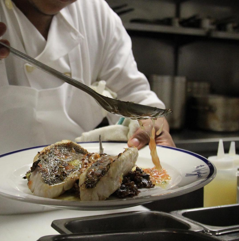 Making a splash Monday's with their roasted Black Sea bass entree, part of their seasonal menu.