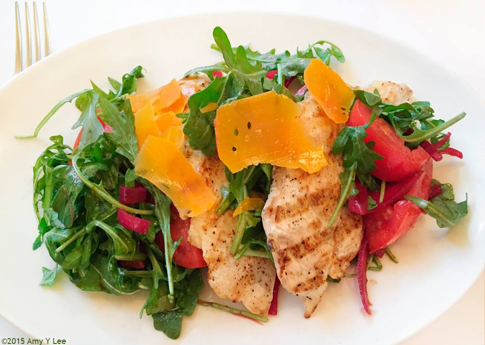 CHICKEN PAILLARD with arugula and tomato salad, balsamic aged gouda by Amy Lee.jpg
