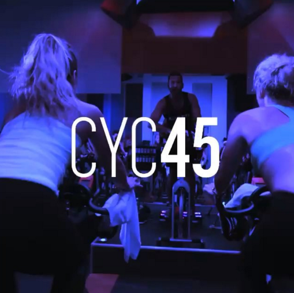 Cyc45  Clip into our signature 45-minute beat-based ride. Calorie burning endurance intervals are combined with weighted sectors inspired by more than 20 different sports movements from boxing, rowing, volleyball and more, to activate the whole body, the whole time.