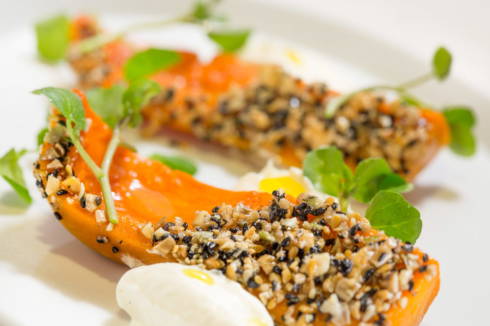 Honeynut Squash with Cultured Cheese, Crushed Nuts and Seeds