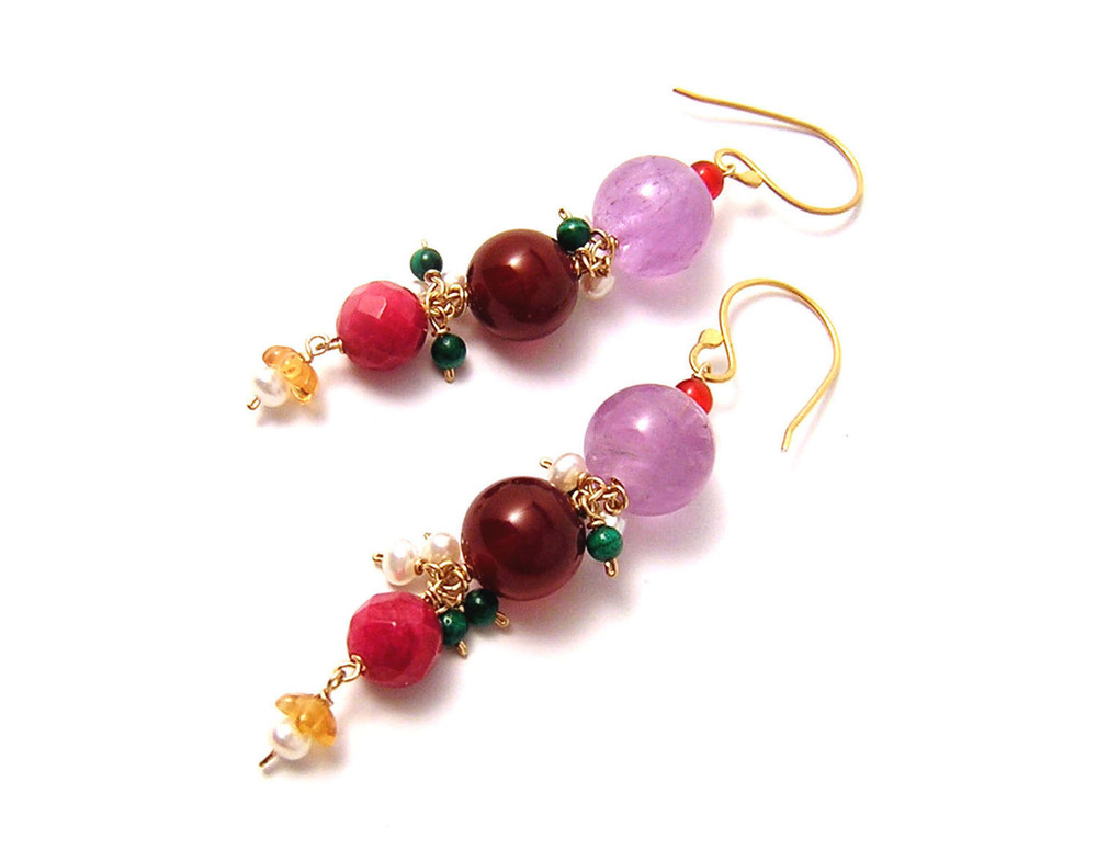 Katherine Bree Maharajah long drop earring red.jpg