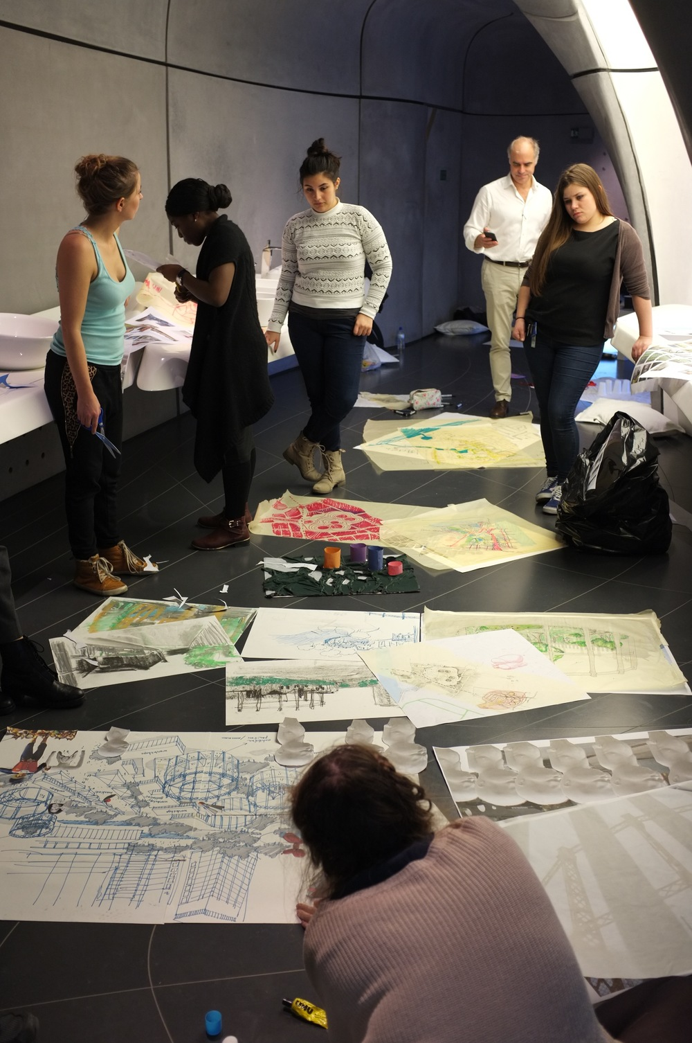 University of East London students with mentor Pierre Baillargeon AIA