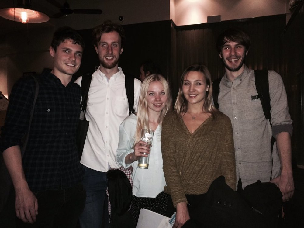 Winners – University of the Creative Arts students, at the pub after the Charrette