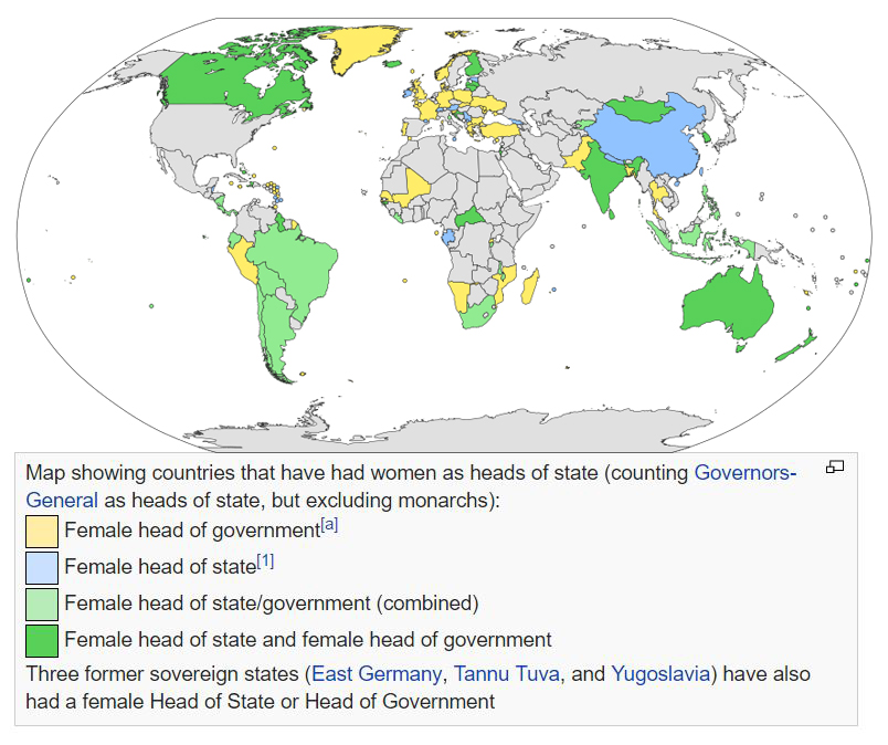 List of elected and appointed female heads of state, a recent survey from Wikipedia