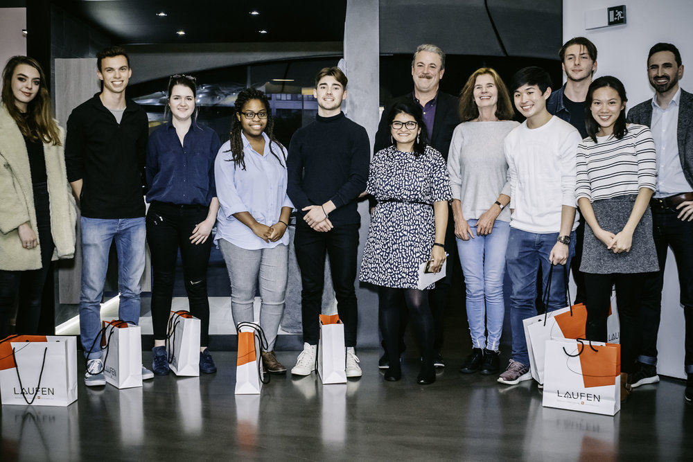 The winning team, University of Kent, their mentor, Bea Sennewald, and the jury, Stephan Reinke, FAIA, David Bromell, and Amrita Raja.