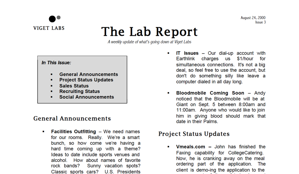 An excerpt of the Lab Report from 2000, when the team was six people.