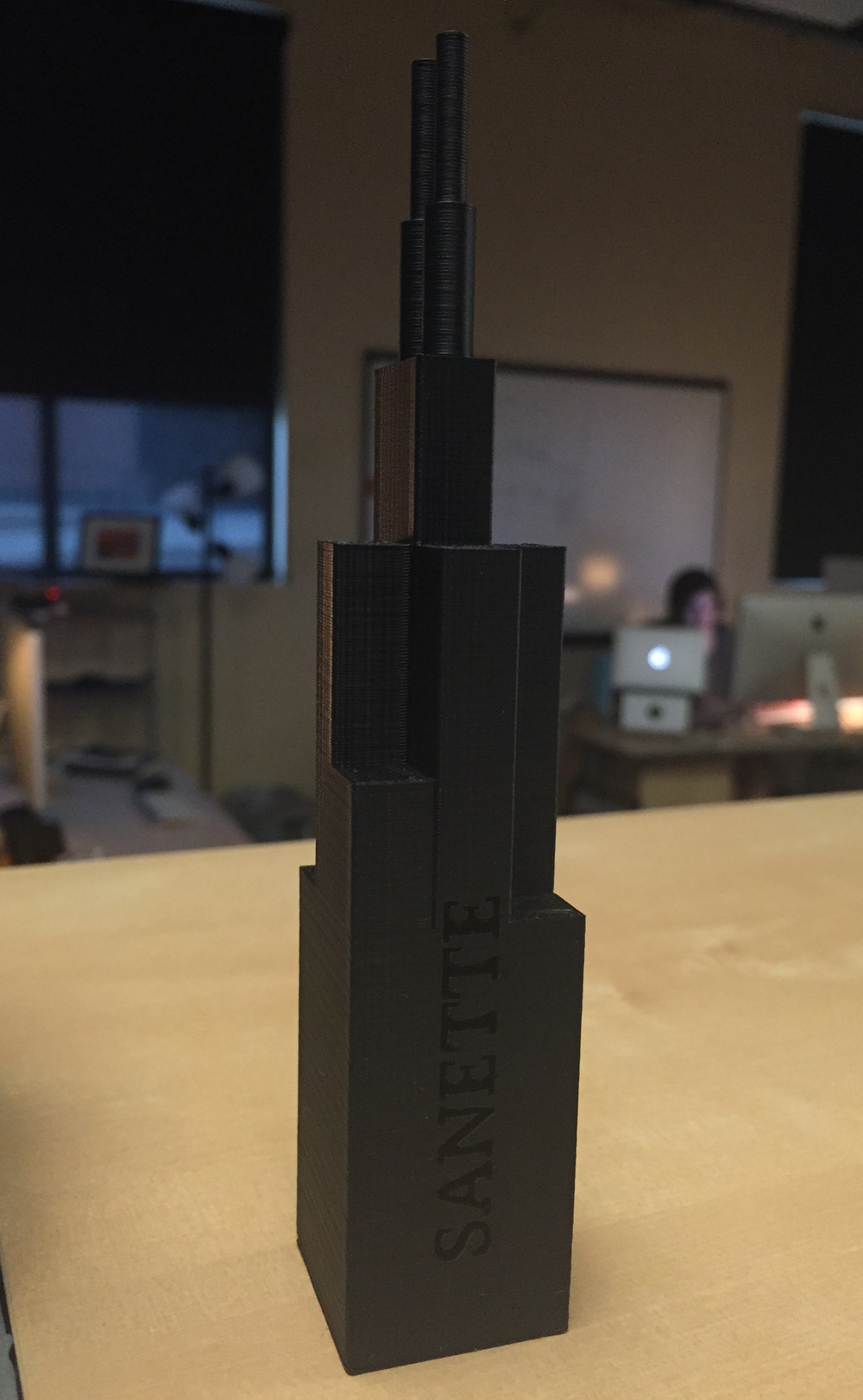 My 3D-printed model of the Sears Tower.