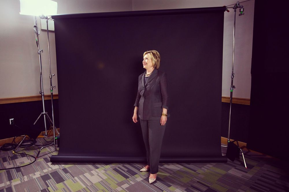 Hillary Clinton on set after her conversation with Ezra Klein in Raleigh, NC. (Photo Credit: Kainaz Amaria)