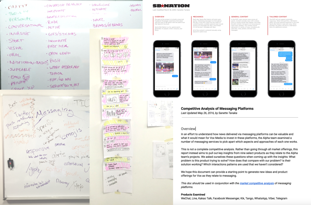 (Clockwise from top left) Freeform whiteboarding session on conversational UI, prototype of a SB Nation bot on Facebook Messenger, competitive analysis of messaging platforms,divergent brainstorming sketches, freeform word association on messaging.