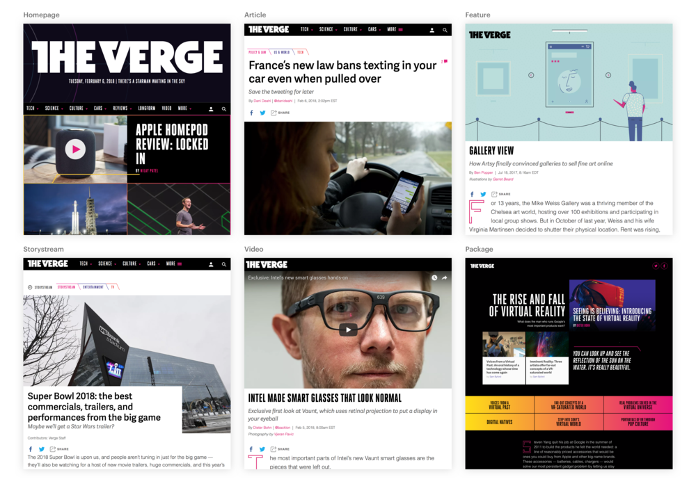Note the difference between The Verge's packages (bottom right) and other story types