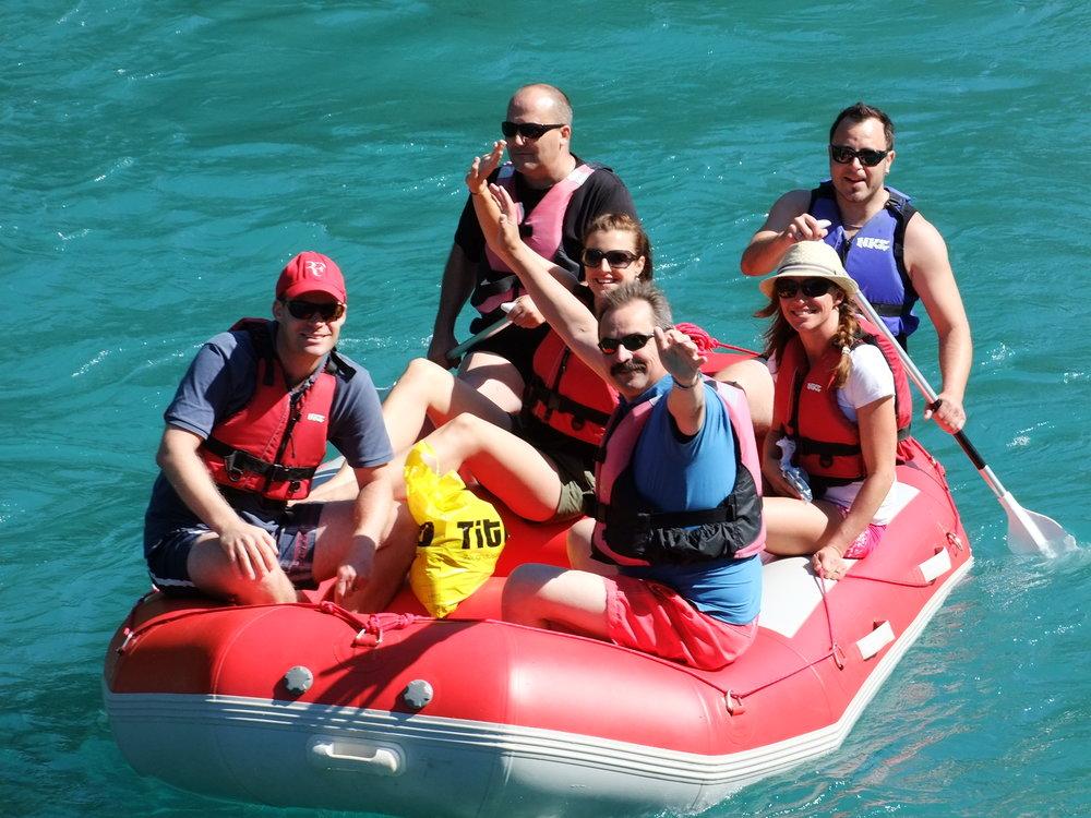 family in raft