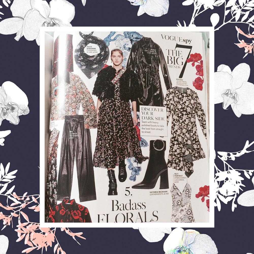 As seen in Vogue Spy, the Dark based, mid scale gothic floral is a huge trend for Winter 16 and is teamed with hard edged accessories for a tough, no-nonsense take on florals.