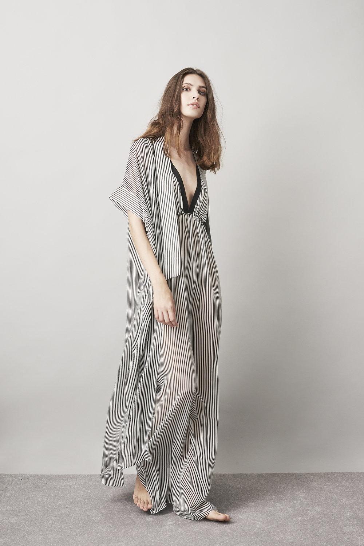 Violet & Wren Vita Collection Aniseed Stripe Maxi Slip and Maxi Robe