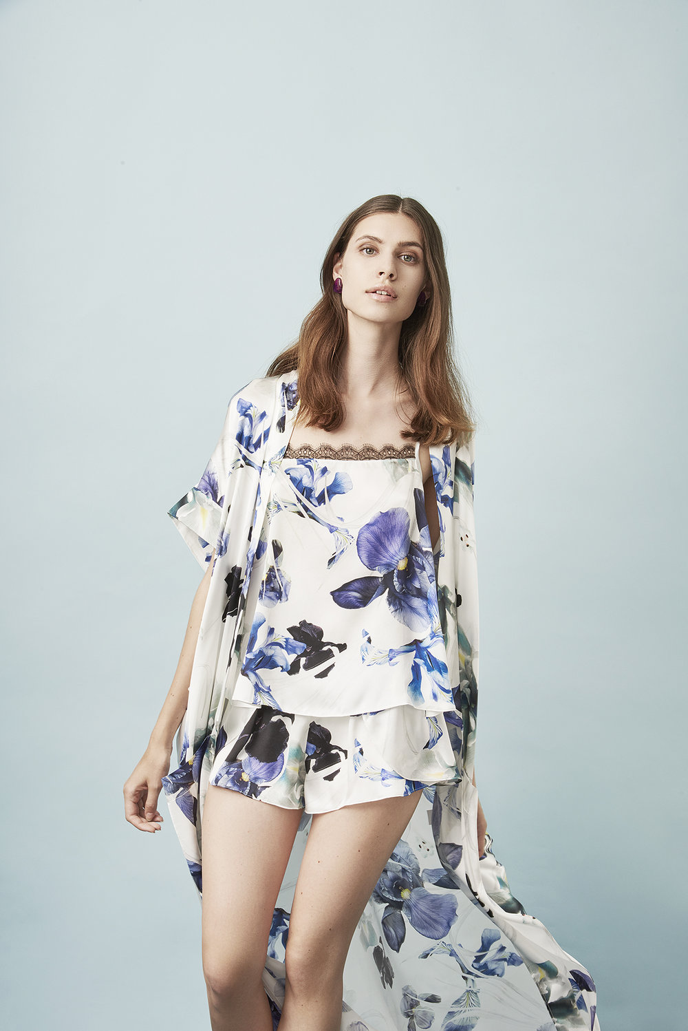 Violet & Wren Vita Collection Chatelaine Iris Maxi Robe , Cami and French Knicker