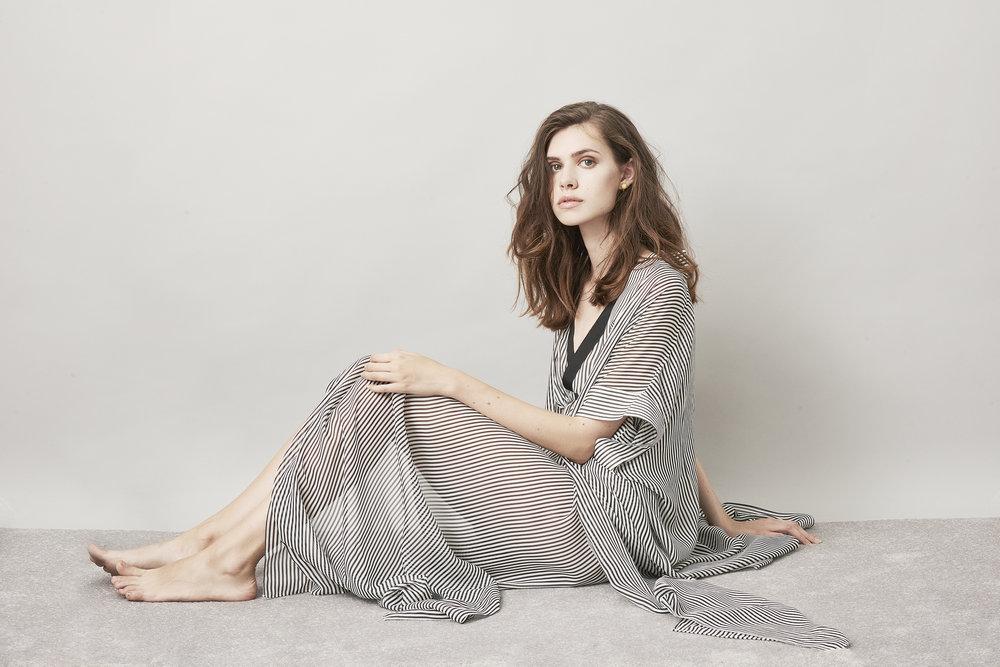 Violet & Wren Vita Collection Aniseed Stripe Maxi Robe and Slip