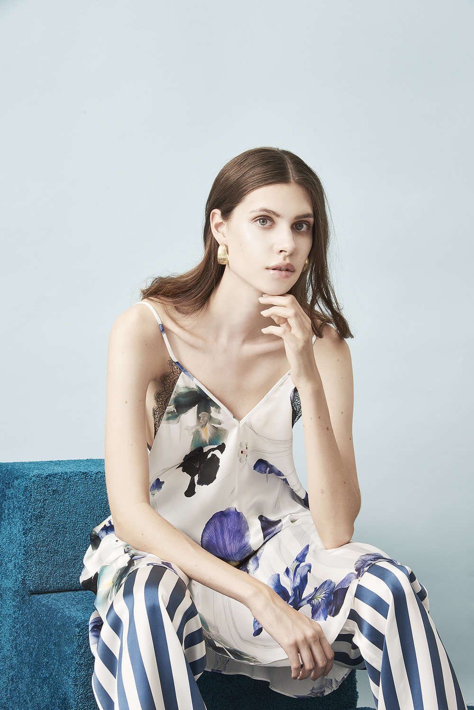 Violet & Wren Vita Collection Chatelaine Iris Slip Dress & Vita Stripe Pyjama Pant
