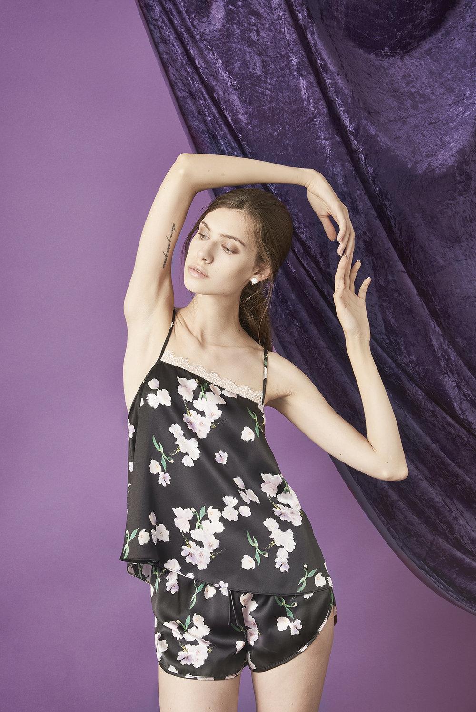 Violet & Wren Vita Collection Ebony Tulip Cami and Shorts