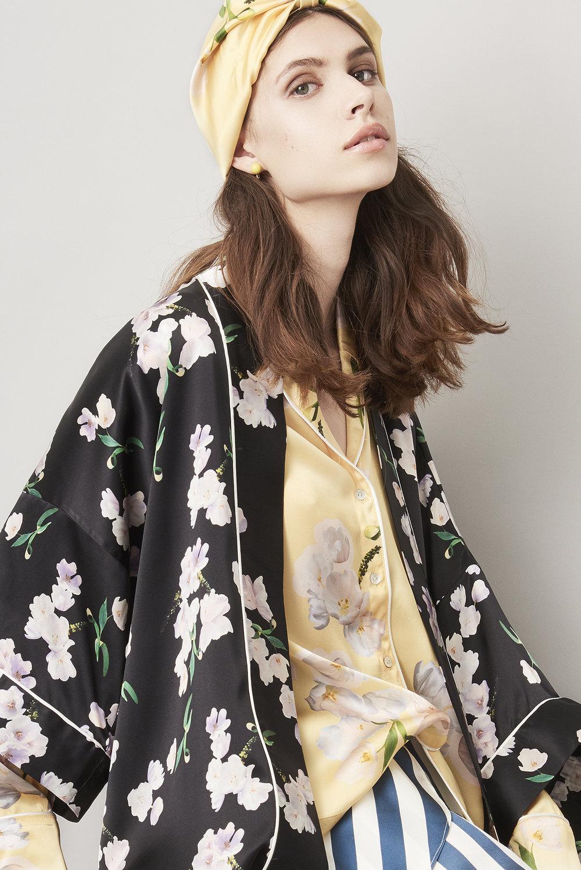 Violet & Wren Vita Collection Black Ebony Tulip Silk Kimono, Pyjama Shirt, Turban