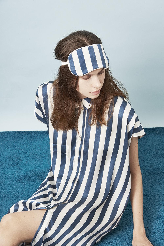 Violet & Wren Vita Collection Vita Stripe Sleepshirt and Sleepmask