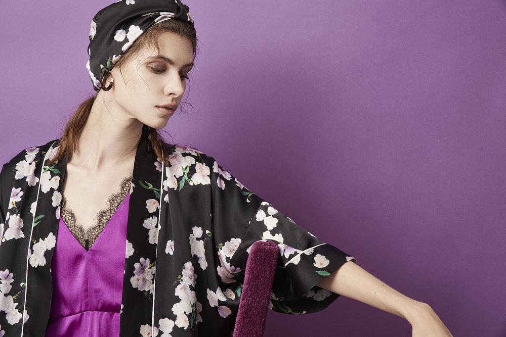 Violet & Wren Vita Collection Ebony Tulip Kimono and Turban