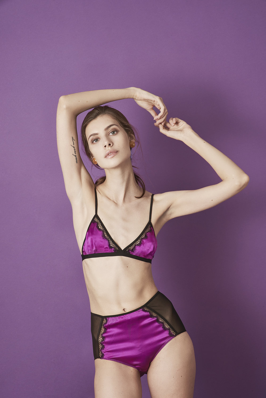 Violet & Wren Vita Collection Fuchsia Lace insert Bralette and High Waist Knicker