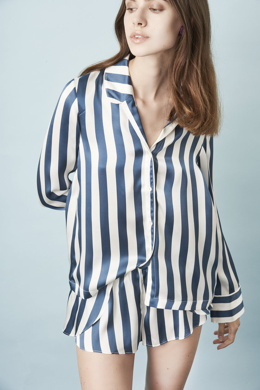Violet & Wren Vita Collection Vita Stripe Pyjama Shirt and French Knicker