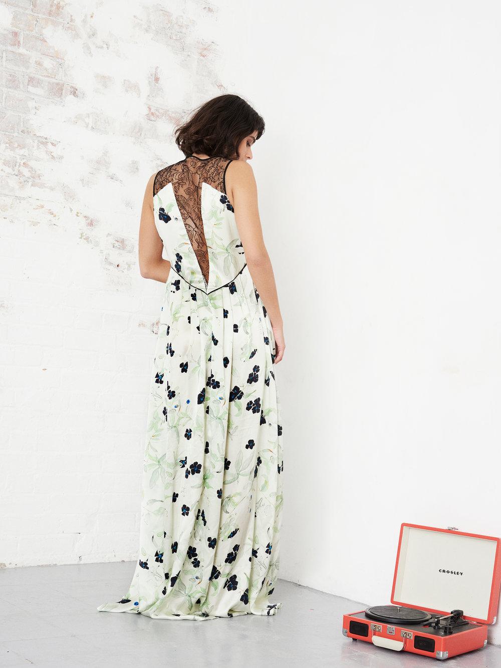 Violet & Wren Lace Back Gown in Neo Mint Vine