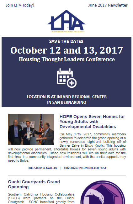 HOPE Opens Seven Homes for Young Adults with Developmental Disabilities,Ouchi Courtyards Grand Opening,National Low-Income Housing Coalition Reports on High Cost of Housing, LHA Membership Dues