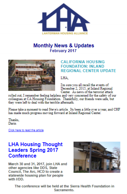 California Housing Foundation: Inland Regional Center Update,LHA Housing Thought Leaders Spring 2017 Conference, Department of Housing and Community Development, HCBS Final Rule Information from DDS, LHA Membership Options