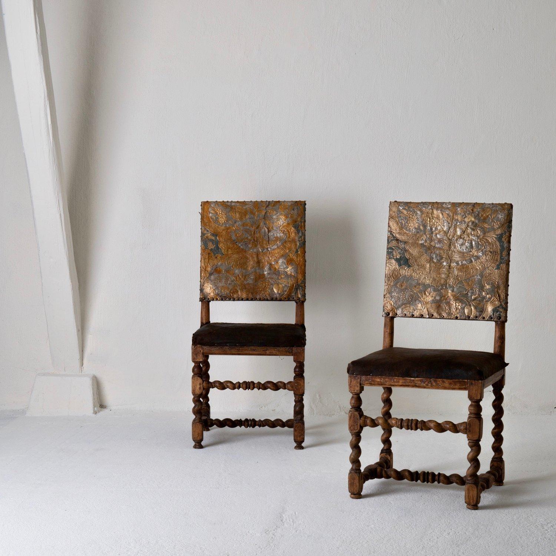 Chairs Pair Swedish Baroque 18th Century Sweden L A S E R O W