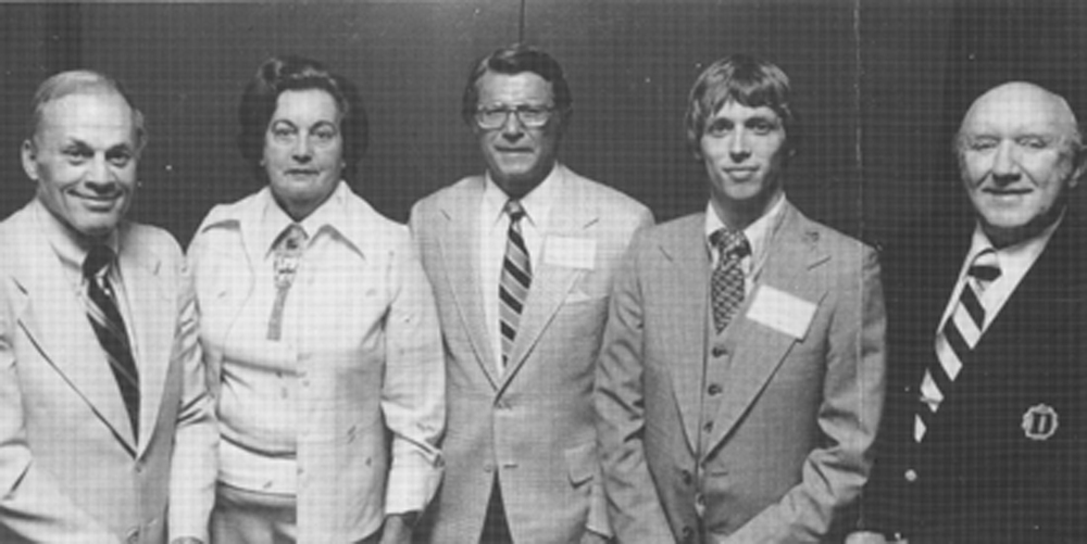 "The inaugural class of the WNC Sports Hall of Fame, inducted May 7, 1978 at Great Smokies Hilton as part of the 20th annual WNC Sports Awards Banquet (from left) Charlie ""Choo Choo"" Justice, Mrs. Pat Werth, in honor of her late husband Freddy Crawford, HOF president George Chumbley, Jr., Tony Waldrop and Dan Hill. Class member Billy Joe Patton not in photo."