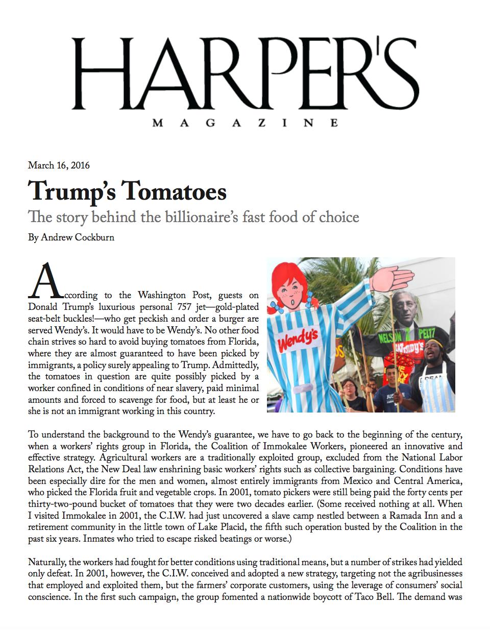 Harper's Magazine: Trump's Tomatoes