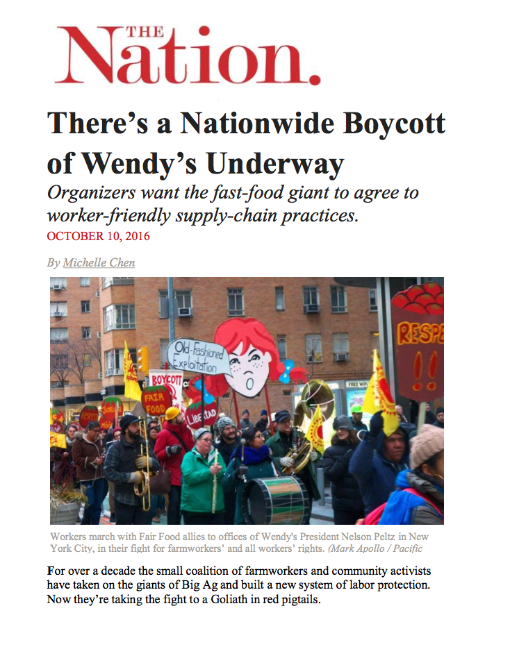 The Nation: Nationwide Boycott of Wendy's Underway