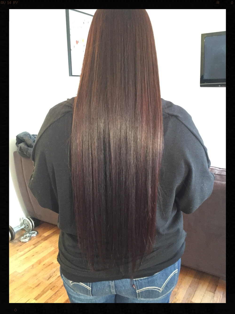 Mom got done the soft ombre hi-lights, Brazilian Blowout, then color shine for 10 minutes. The color shine after Brazilian Blowout is recommended  for a extra deeper bold and shinier color.