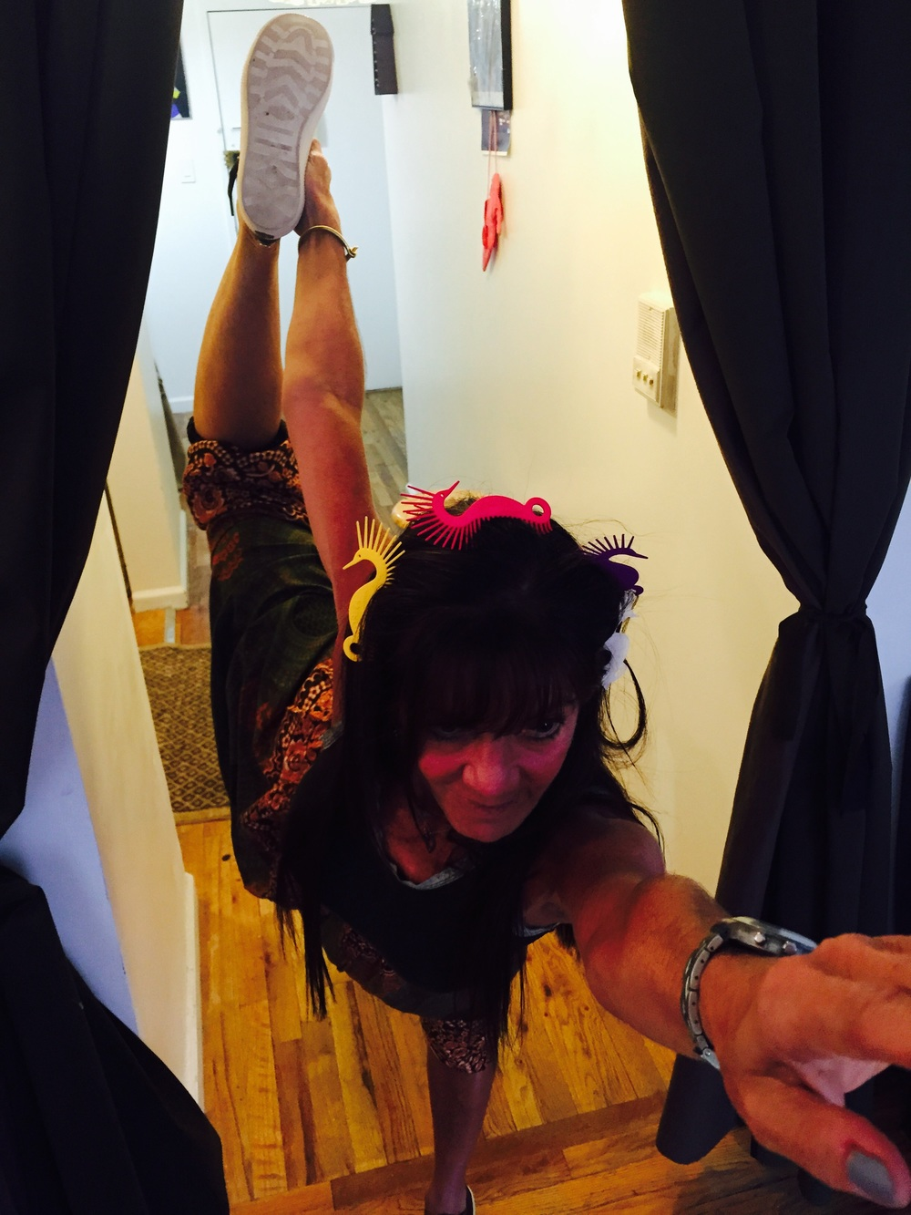 Here is Tracy doing her advance yoga move.