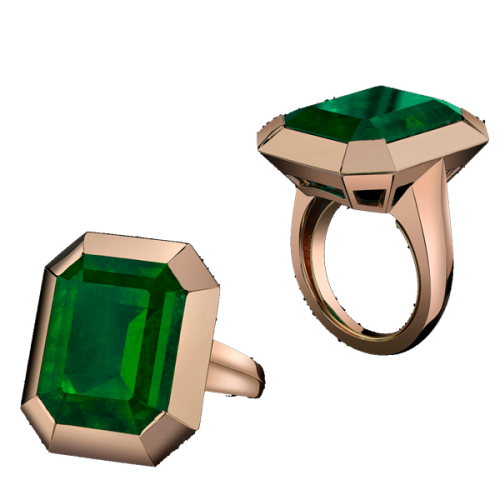 The Colombian Emerald Tablet Ring As emerald is one of Angelina Jolie's favorite gems, this stone was carefully selected and faceted because of its superior quality.  The ring is sculpted in 18K rose gold.