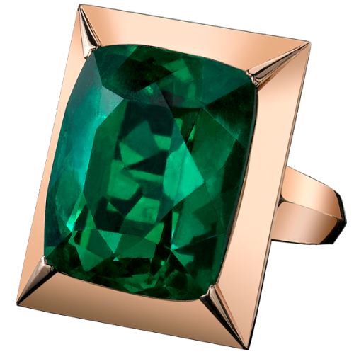27 Carat Emerald Ring   ( My Favorite ) This 27.74 carat vibrant emerald of deep rich green is a remarkable stone of outstanding brilliance discovered in the Kunas mines of Colombia.  Faceted in our unique tablet shape, this gem is mounted in our innovative floating edge bezel of stunning rose gold. This is piece unique.