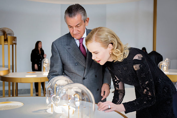 "Nicole Kidman and Stephen Urquhart, president of Omega, at the ""Omega Her Time"" exhibition in Milan. The brand, realizing the popularity of fashion watches, has been trying to increase its sales appeal to women."