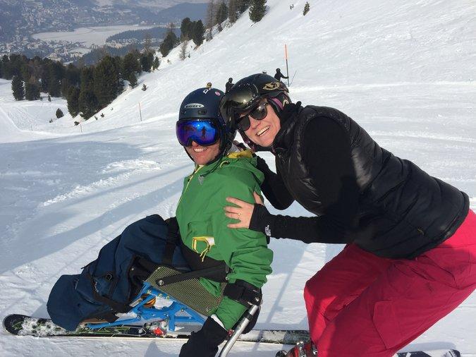 Christopher and Katrin Stewart on the Hahnensee Run into St.-Moritz, in Switzerland