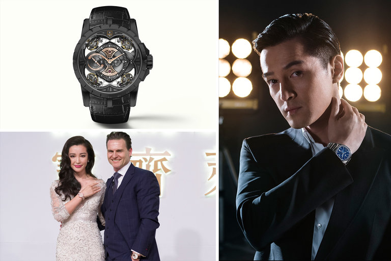 Clockwise, from top left, the Roger Dubuis Excalibur Quatuor featuring the FFF team logo; Hu Ge with a Piaget Polo S; and Li Bingbing with Sascha Moeri, chief executive of the brand Carl F. Bucherer.