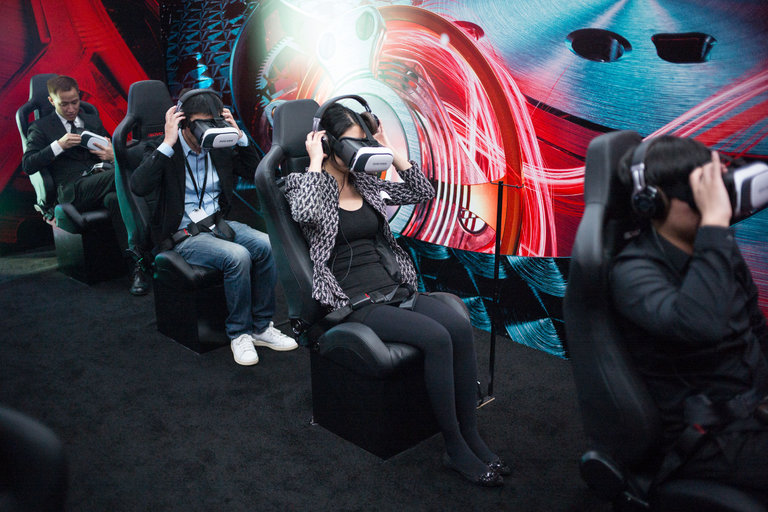 Guests at a Roger Dubuis virtual reality event in October in Shanghai. Credit Eric Leleu for The New York Times