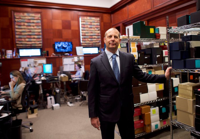 Danny Govberg in the back room of his Philadelphia jewelry store, which has embraced e-commerce.CreditMark Makela for The New York Times