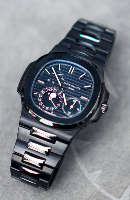 A Patek Philippe with a dial customized by Titan Black.CreditTom Jamieson for The New York Times