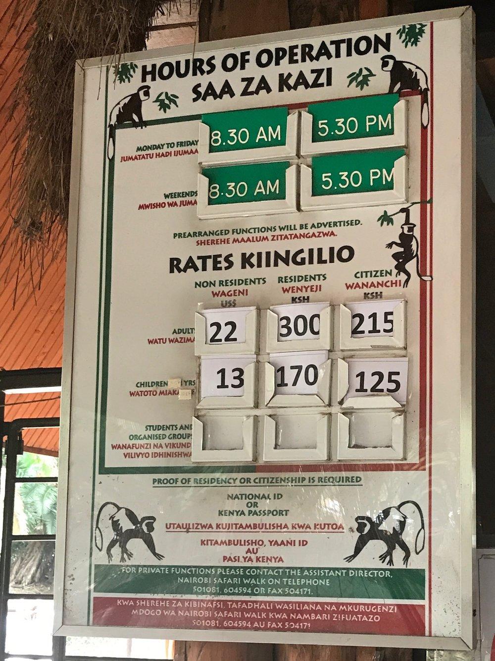 Entrance fee chart